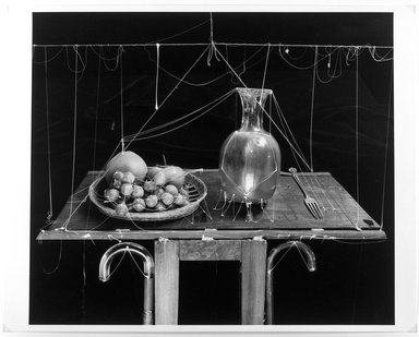 Zeke Berman (American, born 1951). <em>Untitled (Fruit, Vase)</em>, 1984. Gelatin silver photograph Brooklyn Museum, Gift of the artist, 85.236. © artist or artist's estate (Photo: Brooklyn Museum, 85.236_bw.jpg)