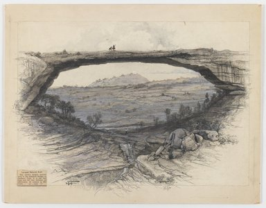 Henry aka Harry Fenn (American, 1845-1911). <em>Rainbow Bridge</em>, n.d. Wash, graphite and charcoal on paper mounted to paperboard, paperboard: 12 1/16 x 15 1/2 in. (30.6 x 39.4 cm). Brooklyn Museum, Gift of Sidney M. Katz, 85.243.3 (Photo: Brooklyn Museum, 85.243.3_IMLS_PS3.jpg)