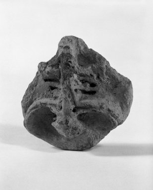Taino. <em>Stamp</em>, 1000-1500 C.E. Clay, 1 1/8 x 2 1/2 x 2 1/2 in. (2.9 x 6.4 x 6.4 cm). Brooklyn Museum, Gift of Mr. and Mrs. Vincent Fay, 85.261.15. Creative Commons-BY (Photo: Brooklyn Museum, 85.261.15_front_bw.jpg)