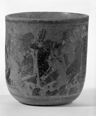 Maya. <em>Vase</em>, 600-800. Ceramic, pigment, 5 13/16 x 5 3/8 in. (14.8 x 13.7 cm). Brooklyn Museum, Gift of Frederic Zeller, 85.262.3. Creative Commons-BY (Photo: Brooklyn Museum, 85.262.3_view1_bw.jpg)