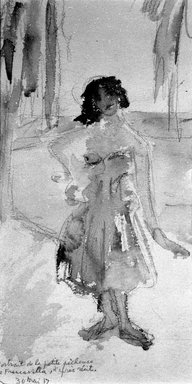 Beatrice Wood (American, 1894-1998). <em>Portrait de la Petite Pecheuse de Francavilla d'Apres Recit</em>, May 30, 1917. Watercolor over graphite on paper, sheet (irregular): 10 1/8 x 5 5/16 in. (25.7 x 13.5 cm). Brooklyn Museum, Gift of Francis N. Naumann, 85.271.3 (Photo: , 85.271.3_bw.jpg)