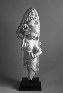<em>Yakshi</em>, 12th-13th century. White marble, 28 1/2 x 11 in. (72.4 x 27.9 cm). Brooklyn Museum, Gift of Georgia and Michael de Havenon, 85.273. Creative Commons-BY (Photo: Brooklyn Museum, 85.273_bw.jpg)