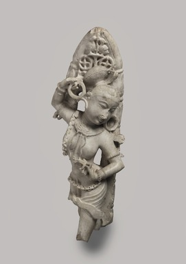 <em>Yakshi</em>, 12th-13th century. White marble, 28 1/2 x 11 in. (72.4 x 27.9 cm). Brooklyn Museum, Gift of Georgia and Michael de Havenon, 85.273. Creative Commons-BY (Photo: Brooklyn Museum, 85.273_overall_PS11.jpg)