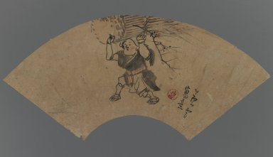 Nagasawa Rosetsu (Japanese, 1754-1799). <em>Woman Brushwood Peddler (Ohara-me)</em>, 18th century. Fan Painting, ink and light color on paper, 9 3/8 x 19 7/8 in. (23.8 x 50.5 cm). Brooklyn Museum, Gift of Horst Kleindienst, 85.278.1. Creative Commons-BY (Photo: Brooklyn Museum, 85.278.1_IMLS_PS3.jpg)