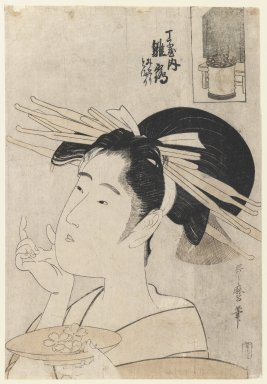 Kitagawa Utamaro (Japanese, 1753-1806). <em>Hinazuru of the Chōjiya</em>, ca. 1795. Color woodblock print on paper, 14 1/2 x 10 in. (36.8 x 25.4 cm). Brooklyn Museum, Gift of Herbert Libertson, 85.279 (Photo: Brooklyn Museum, 85.279_IMLS_PS3.jpg)