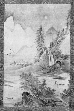 <em>Landscape</em>, early 16th century. Hanging scroll, ink and light color on paper, Image: 17 x 11 in. (43.2 x 27.9 cm). Brooklyn Museum, Gift of Dr. and Mrs. John P. Lyden, 85.281.1 (Photo: Brooklyn Museum, 85.281.1_cropped_bw_IMLS.jpg)