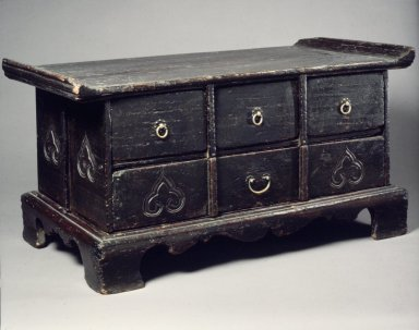 <em>Sutra Table</em>, early 20th century. Wood with brass fittings, 12 3/16 x 24 x 12 13/16 in. (31 x 61 x 32.5 cm). Brooklyn Museum, Gift of Dr. and Mrs. John P. Lyden, 85.281.2. Creative Commons-BY (Photo: Brooklyn Museum, 85.281.2.jpg)