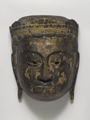 <em>Buddhist Processional Mask of a Bodhisattva</em>, 15th century. Carved wood, 10 x 8 in. (25.4 x 20.3 cm). Brooklyn Museum, Gift of Dr. and Mrs. John P. Lyden, 85.281.6. Creative Commons-BY (Photo: Brooklyn Museum, 85.281.6_PS4.jpg)
