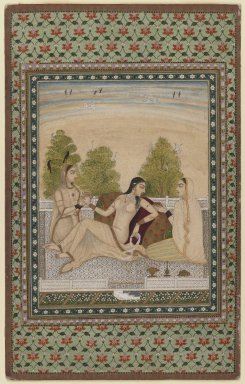 Indian. <em>Woman on a Terrace</em>, ca. 1775. Opaque watercolors and gold on paper, sheet: 13 3/4 x 8 5/8 in.  (34.9 x 21.9 cm). Brooklyn Museum, Gift of Mr. and Mrs. Peter P. Pessutti, 85.282.1 (Photo: Brooklyn Museum, 85.282.1_recto_IMLS_PS3.jpg)