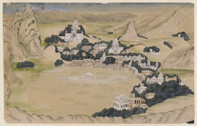 Indian. <em>Pushkar Lake</em>, ca. 1840-1860. Opaque watercolors and washes on paper, sheet: 7 7/8 x 12 1/8 in.  (20.0 x 30.8 cm). Brooklyn Museum, Gift of Mr. and Mrs. Peter P. Pessutti, 85.282.2 (Photo: Brooklyn Museum, 85.282.2_IMLS_PS4.jpg)