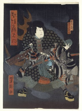 Hokushu (Japanese, ca. 1808-1832). <em>Kabuki Scene (Diptych)</em>, ca. 1820. Woodblock print, 9 13/16 x 7 1/16 in. (25 x 18 cm). Brooklyn Museum, Gift of Mr. and Mrs. Peter P. Pessutti, 85.282.6a-b (Photo: Brooklyn Museum, 85.282.6a_print_IMLS_SL2.jpg)