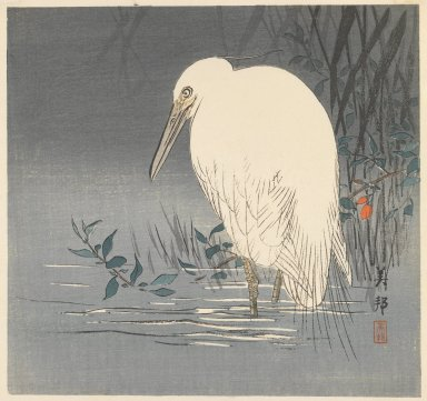 Kason (Japanese). <em>Egret</em>, ca. 1900. Color woodblock print on paper, 9 15/16 x 10 7/16 in. (25.2 x 26.5 cm). Brooklyn Museum, Gift of Mr. and Mrs. Peter P. Pessutti, 85.282.7 (Photo: Brooklyn Museum, 85.282.7_IMLS_PS3.jpg)