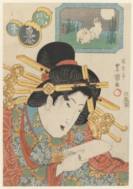 Gosotei Toyokuni II (Japanese, 1802-1835). <em>Hare, from the series Twelve Forms of the Fashionable Eastern Zodiac</em>, late 1820s. Color woodblock print on paper, 14 1/8 x 9 5/8 in. (35.9 x 24.4 cm). Brooklyn Museum, Gift of Mr. and Mrs. Peter P. Pessutti, 85.282.8 (Photo: Brooklyn Museum, 85.282.8_IMLS_PS3.jpg)