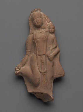 <em>Plaque - Hariti and Child</em>, ca. 1800. Molded terracotta plaque, 4 7/8 x 2 5/8 in. (12.4 x 6.7 cm). Brooklyn Museum, Gift of Dr. Bertram H. Schaffner, 85.283.1. Creative Commons-BY (Photo: Brooklyn Museum, 85.283.1_PS2.jpg)