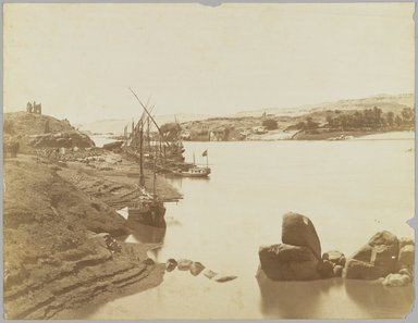 Antonio Beato (Italian and British, ca. 1825-ca.1903). <em>Aswan (View of the Nile from the East Bank)</em>, late 19th century. Albumen silver photograph, image/sheet: 7 3/4 x 10 1/4 in. (19.7 x 26 cm). Brooklyn Museum, Gift of Matthew Dontzin, 85.305.10 (Photo: Brooklyn Museum, 85.305.10_PS4.jpg)