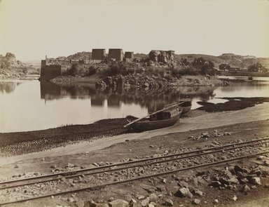 Antonio Beato (Italian and British, ca. 1825-ca.1903). <em>Philae (View of the East Bank of the Nile, northwest)</em>, late 19th century. Albumen silver photograph, image/sheet: 7 3/4 x 10 1/4 in. (19.7 x 26 cm). Brooklyn Museum, Gift of Matthew Dontzin, 85.305.13 (Photo: Brooklyn Museum, 85.305.13_PS4.jpg)