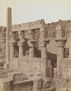 Antonio Beato (Italian and British, ca. 1825-ca.1903). <em>Philae (View from the northeast of the south end of the West Colonnade and the Porch of Nectanebo at the Temple of Isis)</em>, late 19th century. Albumen silver photograph, image/sheet: 7 3/4 x 10 1/4 in. (19.7 x 26 cm). Brooklyn Museum, Gift of Matthew Dontzin, 85.305.15 (Photo: Brooklyn Museum, 85.305.15_PS4.jpg)