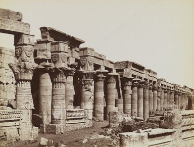 Antonio Beato (Italian and British, ca. 1825-ca.1903). <em>Pavillion of Nectanebo, Philae (View from the southeast of the West Colonnade at the Temple of Isis)</em>, late 19th century. Albumen silver photograph, image/sheet: 7 3/4 x 10 1/4 in. (19.7 x 26 cm). Brooklyn Museum, Gift of Matthew Dontzin, 85.305.16 (Photo: Brooklyn Museum, 85.305.16_PS4.jpg)
