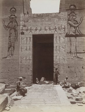 Antonio Beato (Italian and British, ca. 1825-ca.1903). <em>Philae (Close-up view from the south of the Second Pylon Entrance at the Temple of Isis)</em>, late 19th century. Albumen silver photograph, image/sheet: 7 3/4 x 10 1/4 in. (19.7 x 26 cm). Brooklyn Museum, Gift of Matthew Dontzin, 85.305.17 (Photo: Brooklyn Museum, 85.305.17_PS4.jpg)