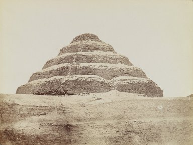 Antonio Beato (Italian and British, ca. 1825-ca.1903). <em>Pyramid at Saqqara (View from southeast of the Step Pyramid)</em>, late 19th century. Albumen silver photograph, image/sheet: 7 3/4 x 10 1/4 in. (19.7 x 26 cm). Brooklyn Museum, Gift of Matthew Dontzin, 85.305.1 (Photo: Brooklyn Museum, 85.305.1_PS4.jpg)
