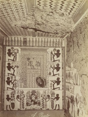 Antonio Beato (Italian and British, ca. 1825-ca.1903). <em>Tomb of Nakht at Thebes (View of painted wall and ceiling from tomb)</em>, late 19th century. Albumen silver photograph, image/sheet: 7 3/4 x 10 1/4 in. (19.7 x 26 cm). Brooklyn Museum, Gift of Matthew Dontzin, 85.305.4 (Photo: Brooklyn Museum, 85.305.4_PS4.jpg)