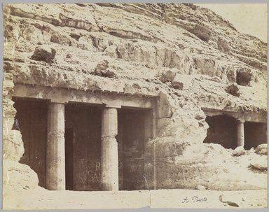 Antonio Beato (Italian and British, ca. 1825-ca.1903). <em>Tombs at Beni Hasan (View of the façade of the tombs of Khnum-hotep [no. 3] and Beni Hasan [no. 4])</em>, late 19th century. Albumen silver photograph Brooklyn Museum, Gift of Matthew Dontzin, 85.305.6 (Photo: Brooklyn Museum, 85.305.6_PS4.jpg)