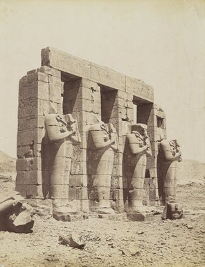 Antonio Beato (Italian and British, ca. 1825-ca.1903). <em>Ramesseum, Thebes (View of the southeast of the Second Court)</em>, late 19th century. Albumen silver photograph, image/sheet: 7 3/4 x 10 1/4 in. (19.7 x 26 cm). Brooklyn Museum, Gift of Matthew Dontzin, 85.305.7 (Photo: Brooklyn Museum, 85.305.7_PS4.jpg)