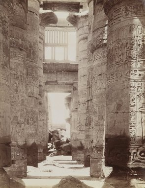 Antonio Beato (Italian and British, ca. 1825-ca.1903). <em>Hypostyle Hall in Temple of Karnak (View of the Hypostyle Hall)</em>, late 19th century. Albumen silver photograph, image/sheet: 7 3/4 x 10 1/4 in. (19.7 x 26 cm). Brooklyn Museum, Gift of Matthew Dontzin, 85.305.8 (Photo: Brooklyn Museum, 85.305.8_PS4.jpg)