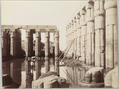Antonio Beato (Italian and British, ca. 1825-ca.1903). <em>Temple of Luxor (View of the Court of Amenhotep III)</em>, late 19th century. Albumen silver photograph, image/sheet: 7 3/4 x 10 1/4 in. (19.7 x 26 cm). Brooklyn Museum, Gift of Matthew Dontzin, 85.305.9 (Photo: Brooklyn Museum, 85.305.9_PS9.jpg)