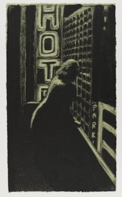 Jane Dickson (American, born 1952). <em>Woman on Balcony</em>, 1984. Monotype, 17 1/16 x 9 13/16 in. (43.3 x 25 cm). Brooklyn Museum, Purchased with funds given by the Louis Comfort Tiffany Foundation, 85.35.3. © artist or artist's estate (Photo: Brooklyn Museum, 85.35.3_PS4.jpg)
