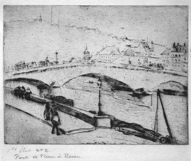 Camille Jacob Pissarro (French, 1830-1903). <em>Stone Bridge, Rouen (Pont de Pierre, Rouen)</em>, 1883-1884. Soft-ground etching on medium heavy laid Arches paper, 5 7/8 x 7 13/16 in. (15 x 19.8 cm). Brooklyn Museum, A . Augustus Healy Fund and Carll H. de Silver Fund, 85.40.2 (Photo: Brooklyn Museum, 85.40.2_bw.jpg)