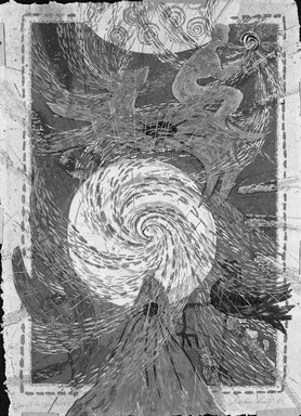 Beth Ames Swartz (American, born 1936). <em>Journey to the Upper World</em>, 1983. Screenprint with microglitter and feathers on paper, 31 x 23 1/8 in. (78.7 x 58.7 cm). Brooklyn Museum, Purchased with funds given by George Jaffin, 85.45. © artist or artist's estate (Photo: Brooklyn Museum, 85.45_bw.jpg)