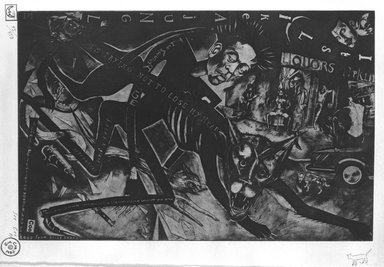 Sue Coe (British, born 1951). <em>It's Like a Jungle</em>, 1984. Photo etching on arches paper Brooklyn Museum, Purchased with funds given by the Louis Comfort Tiffany Foundation, 85.50. © artist or artist's estate (Photo: Brooklyn Museum, 85.50_bw.jpg)