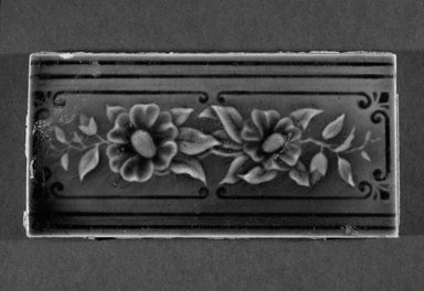 International Tile Company. <em>Tile</em>, 1882-1888. Earthenware, 1/2 x 6 x 3 in. (1.3 x 15.2 x 7.6 cm). Brooklyn Museum, Gift of Florence I. Barnes, 85.6.10. Creative Commons-BY (Photo: Brooklyn Museum, 85.6.10_bw.jpg)
