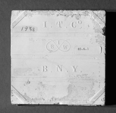 International Tile Company. <em>Tile</em>, 1882-1888. Earthenware, 1/2 x 4 1/2 x 4 1/2 in. (1.3 x 11.4 x 11.4 cm). Brooklyn Museum, Gift of Florence I. Barnes, 85.6.1. Creative Commons-BY (Photo: Brooklyn Museum, 85.6.1_bottom_bw.jpg)