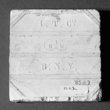 International Tile Company. <em>Tile</em>, 1882-1888. Earthenware, 1/2 x 4 1/2 x 4 1/2 in. (1.3 x 11.4 x 11.4 cm). Brooklyn Museum, Gift of Florence I. Barnes, 85.6.2. Creative Commons-BY (Photo: Brooklyn Museum, 85.6.2_bottom_bw.jpg)