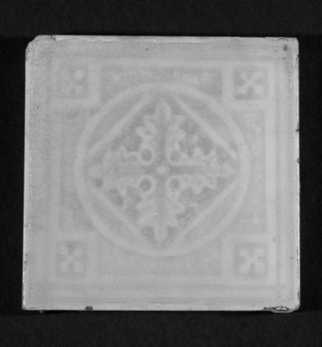 International Tile Company. <em>Tile</em>, 1882-1888. Earthenware, 1/2 x 4 1/2 x 4 1/2 in. (1.3 x 11.4 x 11.4 cm). Brooklyn Museum, Gift of Florence I. Barnes, 85.6.2. Creative Commons-BY (Photo: Brooklyn Museum, 85.6.2_bw.jpg)
