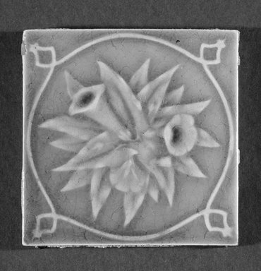 International Tile Company. <em>Tile</em>, 1882-1888. Earthenware, 1/2 x 4 1/2 x 4 1/2 in. (1.3 x 11.4 x 11.4 cm). Brooklyn Museum, Gift of Florence I. Barnes, 85.6.3. Creative Commons-BY (Photo: Brooklyn Museum, 85.6.3_bw.jpg)
