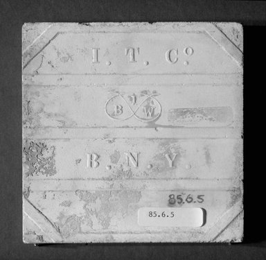 International Tile Company. <em>Tile</em>, 1882-1888. Earthenware, 1/2 x 4 1/2 x 4 1/2 in. (1.3 x 11.4 x 11.4 cm). Brooklyn Museum, Gift of Florence I. Barnes, 85.6.5. Creative Commons-BY (Photo: Brooklyn Museum, 85.6.5_bottom_bw.jpg)