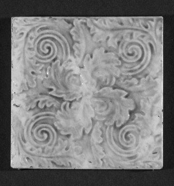 International Tile Company. <em>Tile</em>, 1882-1888. Earthenware, 1/2 x 4 1/2 x 4 1/2 in. (1.3 x 11.4 x 11.4 cm). Brooklyn Museum, Gift of Florence I. Barnes, 85.6.5. Creative Commons-BY (Photo: Brooklyn Museum, 85.6.5_bw.jpg)