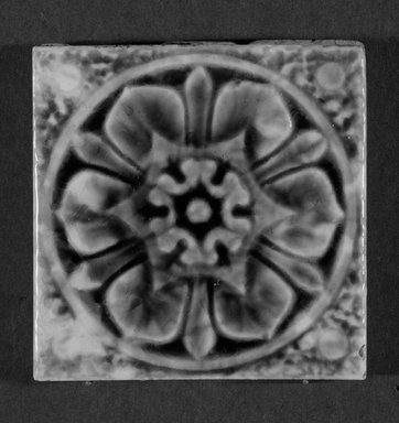 International Tile Company. <em>Tile</em>, 1882-1888. Earthenware, 1/2 x 3 x 3 in. (1.3 x 7.6 x 7.6 cm). Brooklyn Museum, Gift of Florence I. Barnes, 85.6.6. Creative Commons-BY (Photo: Brooklyn Museum, 85.6.6_bw.jpg)