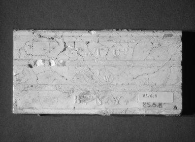International Tile Company. <em>Tile</em>, 1882-1885. Earthenware, 1/2 x 6 x 3 in. (1.3 x 15.2 x 7.6 cm). Brooklyn Museum, Gift of Florence I. Barnes, 85.6.8. Creative Commons-BY (Photo: Brooklyn Museum, 85.6.8_bottom_bw.jpg)