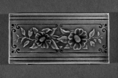 International Tile Company. <em>Tile</em>, 1882-1888. Earthenware, 1/2 x 6 x 3 in. (1.3 x 15.2 x 7.6 cm). Brooklyn Museum, Gift of Florence I. Barnes, 85.6.9. Creative Commons-BY (Photo: Brooklyn Museum, 85.6.9_bw.jpg)