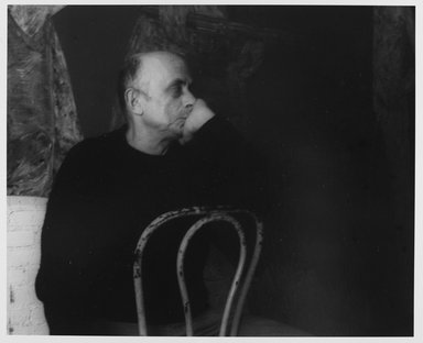 Lenore Seroka (American, born 1935). <em>Leon Golub</em>, 1983. Gelatin silver photograph, sheet: 11 x 14 in. (27.8 x 35.5 cm). Brooklyn Museum, Gift of the artist, 85.63.11. © artist or artist's estate (Photo: Brooklyn Museum, 85.63.11_PS9.jpg)
