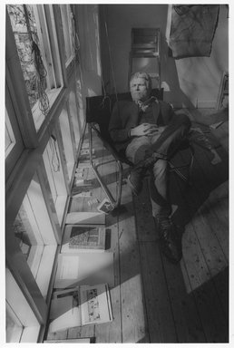 Lenore Seroka (American, born 1935). <em>R. B. Kitaj</em>, 1983. Gelatin silver photograph, sheet: 11 x 14 in. (27.8 x 35.5 cm). Brooklyn Museum, Gift of the artist, 85.63.14. © artist or artist's estate (Photo: Brooklyn Museum, 85.63.14_PS9.jpg)