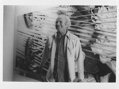 Lenore Seroka (American, born 1935). <em>James Rosenquist</em>, 1984. Gelatin silver photograph, sheet: 11 x 14 in. (27.8 x 35.5 cm). Brooklyn Museum, Gift of the artist, 85.63.17. © artist or artist's estate (Photo: Brooklyn Museum, 85.63.17_PS9.jpg)