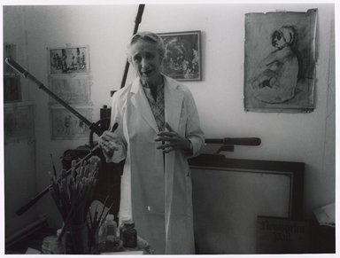 Lenore Seroka (American, born 1935). <em>Isabel Bishop</em>, 1979. Gelatin silver photograph, sheet: 11 x 14 in. (27.8 x 35.5 cm). Brooklyn Museum, Gift of the artist, 85.63.2. © artist or artist's estate (Photo: Brooklyn Museum, 85.63.2_PS9.jpg)