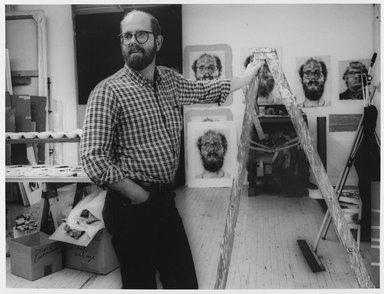 Lenore Seroka (American, born 1935). <em>Chuck Close</em>, 1983. Gelatin silver photograph, sheet: 11 x 14 in. (27.8 x 35.5 cm). Brooklyn Museum, Gift of the artist, 85.63.6. © artist or artist's estate (Photo: Brooklyn Museum, 85.63.6_PS9.jpg)