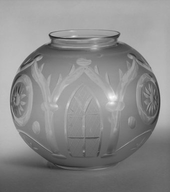 American. <em>Globe for Lamp</em>, mid-19th century. Glass, 6 x 8 in. (15.2 x 20.3 cm). Brooklyn Museum, Gift of Samuel J. Dornsife, 85.72. Creative Commons-BY (Photo: Brooklyn Museum, 85.72_bw.jpg)