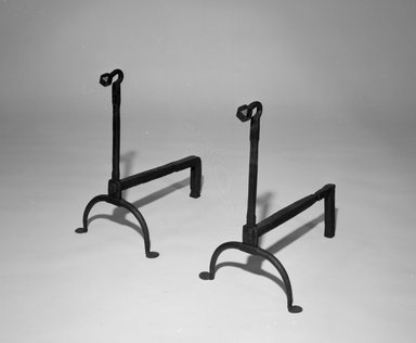 American. <em>Andiron, One of Pair</em>, 18th century. Wrought iron, 18 1/2 x 11 x 16 in. (47 x 27.9 x 40.6 cm). Brooklyn Museum, Gift of R.H. Ellsworth, 85.73.1. Creative Commons-BY (Photo: , 85.73.1_85.73.2_bw.jpg)